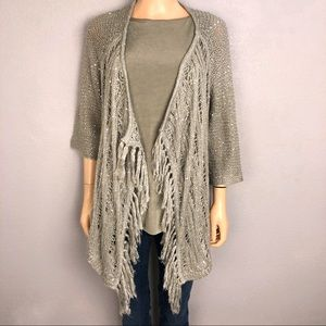 Chico's Sequin Open Front Cardigan Open Knit